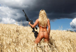 lara de santis, blonde, sniper, tattoo, rifle, gun, tanned, field, ass, thong