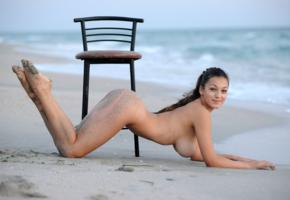 sofi a, sofie, xlina, brunette, beach, naked, tanned, chair, big tits, ass, smile, hi-q, boobs