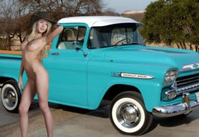 barbara, truck, chevy, apache, 1959, cowgirl, hat, naked, blonde, perfect tits, nipples, shaved pussy, hi-q, boobs