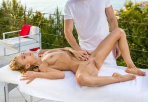 nancy a, jane f, erica, outdoors, man, tanned, oiled, naked, tits, boobs, nipples, shaved pussy, labia, spread legs, table, hi-q