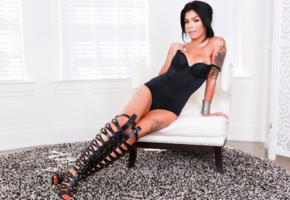 aubrey starr, shemale, lingerie, brunette, boots, fetish, tattoo, chicks with dicks