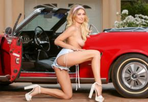 natalia starr, blonde, car, mustang, shorts, topless, boobs, tits, nipples, high heels, smile, hi-q