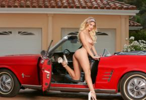 natalia starr, blonde, car, mustang, naked, boobs, tits, nipples, ass, spread legs, smile, high heels, hi-q