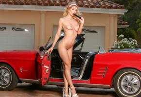 natalia starr, blonde, car, mustang, naked, boobs, tits, nipples, vibrator, landing strip, high heels, hi-q
