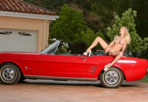 natalia starr, blonde, car, mustang, naked, masturbating, vibrator, insertion, boobs, tits, nipples, landing strip, pussy, labia, spread legs, high heels, hi-q