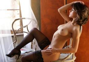 mia valentine, lingerie, stockings, black stockings, boobs, tits, panties, topless, heels, brunette, tanned