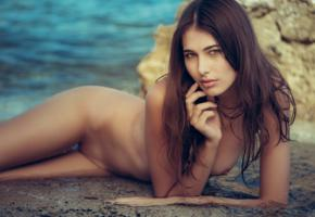 katrine pirs, brunette, model, naked, beach, sea, tanned, nude, shaved pussy, wet