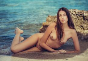 katrine pirs, brunette, model, naked, beach, sea, tanned, nude, shaved pussy, tits, nipples, wet
