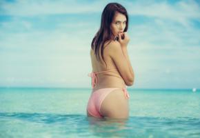 katrine pirs, brunette, model, naked, beach, sea, tanned, bikini, pink bikini