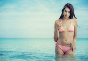 katrine pirs, brunette, model, bikini, beach, sea, tanned, pink bikini