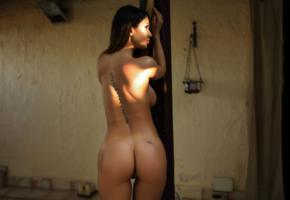 justyna, model, naked, sexy, tanned, nude, tattoo, oiled, ass, back