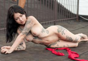 sexy girl, boobs, tits, nude, nipples, pussy, shaved pussy, legs, tattoo, puffy nipples, black hair, shaved, hot