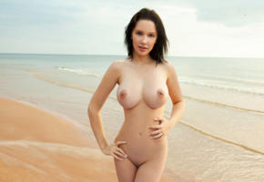 agatha, brunette, beach, naked, boobs, big tits, nipples, shaved pussy, hi-q