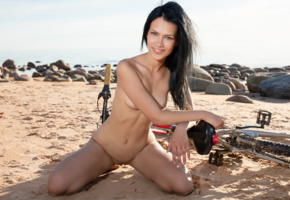 laina, gorgeous, bike, beach, sea, nude, black hair, smile, shaved pussy, labia, pussy