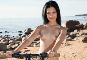 laina, gorgeous, bike, beach, sea, nude, black hair, smile, small tits, tits