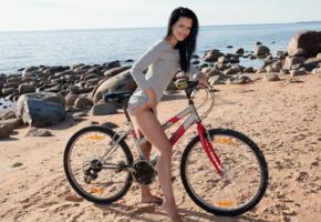laina, bike, beach, sea, black hair, smile