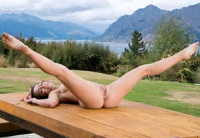 lily adams, brunette, outdoors, table, naked, boobs, shaved pussy, labia, ass, anus, spread legs, hi-q