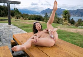lily adams, brunette, outdoors, table, naked, masturbating, vibrator, insertion, boobs, tits, nipples, shaved pussy, labia, ass, anus, sunglasses, spread legs, hi-q