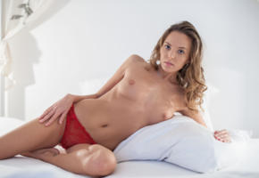 katya clover, clover, mango, caramel, mango a, brunette, bed, panties, see through, pussy, topless, boobs, tits, nipples, hi-q, red panties