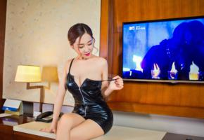 candy, curvy, chinese, erotic model, sitting, shiny, minidress, photoshoot, sexy, dressed, hotelroom, asian