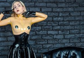 katerina piglet, blonde, russian, latex, fetish model, c-tru, top, fetish babe, erotic, tight clothes, katerina, widescreen cut, pale skin