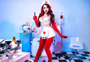 dani divine, french, latex, fetish model, nurse, tight clothes, gloves, fetish babe