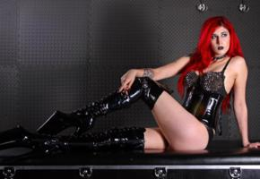 mistress synful, german, domina, pvc, underbust corset, overknee, plateau boots, erotic, hi-q, babes in boots