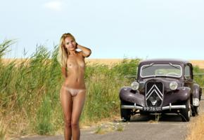 talia cherry, car, citroen, naked, tanlines, small tits, boobs, nipples, shaved pussy, labia, blonde, field