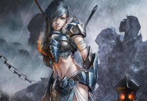 art, warrior, women, armour, rain, fantasy