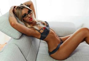 vanilla black, slim, blonde, cam girl, long hair, glasses, red lips, posing, erotic, bra, panty, tattoo, milf, panties, tanned