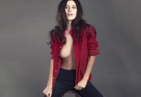 alejandra guilmant, model, black hair, tits, boobs, sexy, brunette, pants