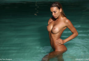 amber a, brunette, hot, beauty, nude, tanned, pool, wet, nipples, tanned, big tits, boobs