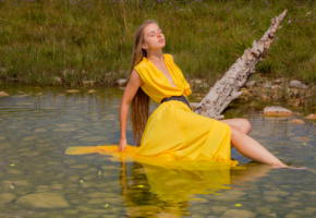 milena, yellow dress, dress, brunette, river, milena d