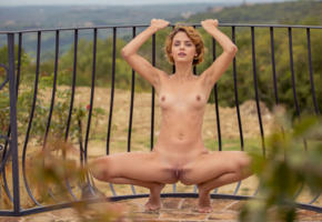 ariel, lilit a, ariela, rufina t, dirty blonde, outdoors, naked, boobs, tits, perky nipples, shaved pussy, labia, spread legs, squating, hi-q