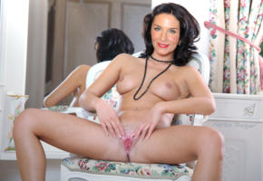 marisa burger, actress, black hair, legs spread, pussy, labia, chair, smile, posing, fake, celebrity fake, tits
