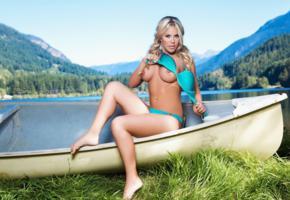 kellie smith, boat, model, mountains, boobs, blue sky, grass, playmate, nipples, lake, water, playboy, bra, panties, lingerie, big tits