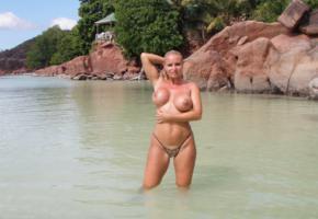 big tits, milf, blonde, beach, low quality, boobs, nipples, topless, tanned, sea, rocks, wet