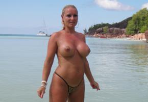 big tits, beach, milf, blonde, low quality, boobs, nipples, topless, sea, wet