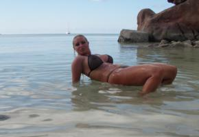 beach, bg tits, milf, blonde, low quality, boobs, big tits, nipples, see through, sea, wet