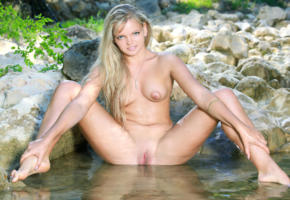 adalia p, blonde, outdoors, water, naked, boobs, tits, puffy nipples, shaved pussy, labia, spread legs, wet, hi-q