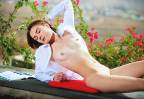 alice shea, outdoor, outside, small tits, nipples, tits, shirt, tanned