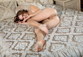 gracie a, gracie, angelina ballerina, anna netrebko, marion y, vivian b, model, brunette, smile, pussy, trimmed pussy, labia, anus, ass, legs, bed, nude