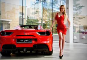 model, blonde, red dress, dress, high heels, car, ferrari, ferrari 488 spider