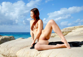 berenice, model, redhead, small tits, tits, open legs, pussy, shaved pussy, labia, legs, cliffs, ocean, sea, nude