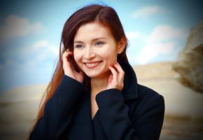 berenice, model, pretty, redhead, blue eyes, smile, portrait
