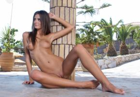 smooth pussy, nude, boobs, tits, brunette, sitting, floor, palm, shaved pussy, labia, tanned