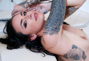 suttin, suicide girls, brunette, smile, nipples, tits, wet, bathroom, bathtub, hard nipples, tattoo, nude