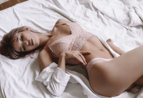 bed, eyes closed, lingerie, sexy, hips, bra