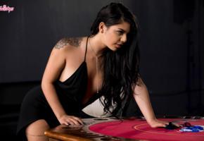 gina valentina, dress, tattoo, necklace, poker, black dress, black hair