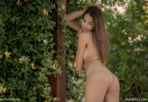 katrine pirs, ass, outdoor, outside, tanned, nude, brunette, back